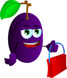 Plum holding an empty bag Royalty Free Stock Image