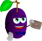 Plum holding an envelope Royalty Free Stock Image