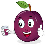 Plum Holding a Fresh Squeezed Juice. A cheerful cartoon plum character with thumbs up and holding a glass with a fresh squeezed juice, isolated on white Royalty Free Stock Image
