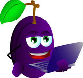 Plum holding laptop Royalty Free Stock Images