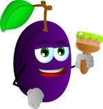 Plum holding a paint brush Stock Photography