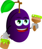 Plum holding a paint can and a paint brush Royalty Free Stock Photography