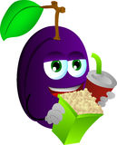 Plum holding popcorn and soft drink Royalty Free Stock Photography