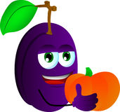 Plum holding pumpkin Stock Photography