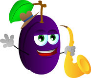 Plum holding saxophone Royalty Free Stock Photos