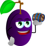 Plum holding a small barrel Royalty Free Stock Photo