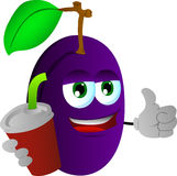 Plum holding soda and showing thumb up sign Stock Photos