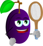 Plum holding a tennis rocket Royalty Free Stock Photo