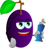Plum holding toothpaste Stock Images