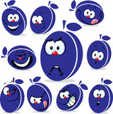 Plum icon cartoon with funny faces Stock Photography