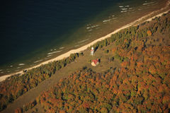 Plum Island light house. Aerial view of Plumb Island Lighthouse, wisconsin, on Lake Michigan in the autumn Stock Images