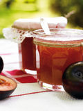 Plum jam. Home-made preserve plum jam Royalty Free Stock Image