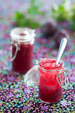 Plum jam. In glass jar, selective focus Royalty Free Stock Photo