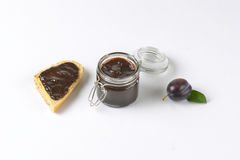 Plum jam and baguette Stock Photography