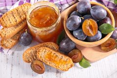 Plum jam and bread Royalty Free Stock Photography