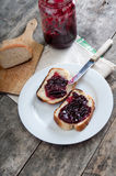 Plum jam with bread Royalty Free Stock Image