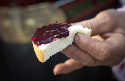 Plum jam on brerad in old lady's hand Stock Photography