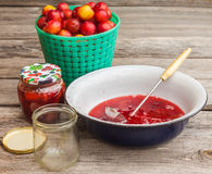 Plum jam and capacity for conservation Stock Image