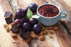Plum jam with chocolate Royalty Free Stock Photo