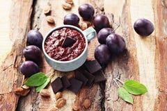 Plum jam with chocolate Stock Image