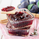 Plum Jam in Clear Glass Square Bowls Royalty Free Stock Photos