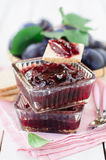 Plum Jam in Clear Glass Square Bowls Royalty Free Stock Photo