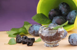 Plum jam with fresh and dried plums. Close up view, Stock Image