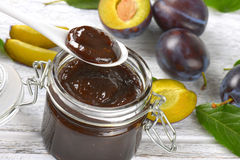 Plum jam and fresh plums Stock Photo