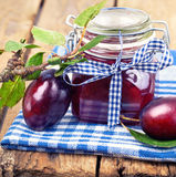 Plum jam and fresh plums Royalty Free Stock Image