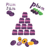 Plum jam and fresh plums -  on white. Background. Watercolor hand drawing vector illustration. Children style Stock Photos