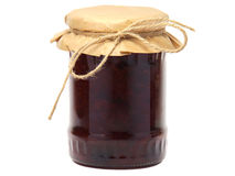 Plum jam in a glass jar Stock Images