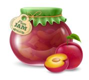 Plum jam in the glass jar Royalty Free Stock Images