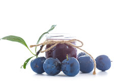 Plum jam in a glass jar Royalty Free Stock Images