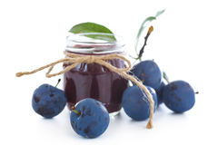 Plum jam in a glass jar Royalty Free Stock Photos