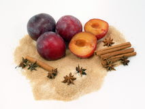 Plum jam ingredients Royalty Free Stock Images