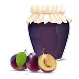 Plum jam in a jar and fresh plums Royalty Free Stock Images