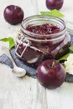 Plum jam in jar Royalty Free Stock Images