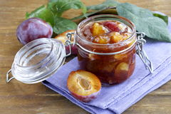 Plum jam in  jar Royalty Free Stock Images