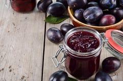 Plum jam and plum, copy space. Stock Photo