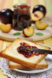 Plum jam with toast Royalty Free Stock Images
