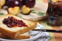 Plum jam with toast Stock Photos
