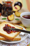 Plum jam with toast Stock Photos