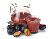 Plum juice and fruit Stock Photography