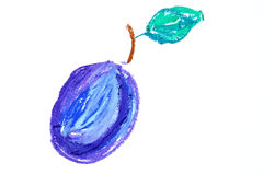 Plum with leaf drawing Stock Photo