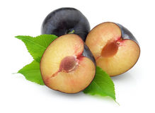 Plum with leaves Royalty Free Stock Photo