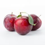 Plum with leaves Royalty Free Stock Images