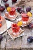 Plum Liqueur Shots Royalty Free Stock Images