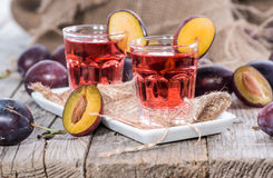 Plum Liqueur Shots Stock Photo