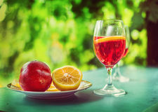 Plum liquor in a glass Royalty Free Stock Photography