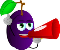 Plum with megaphone Royalty Free Stock Image